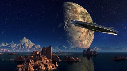 Planet Water Landscape Spaceship Rock
